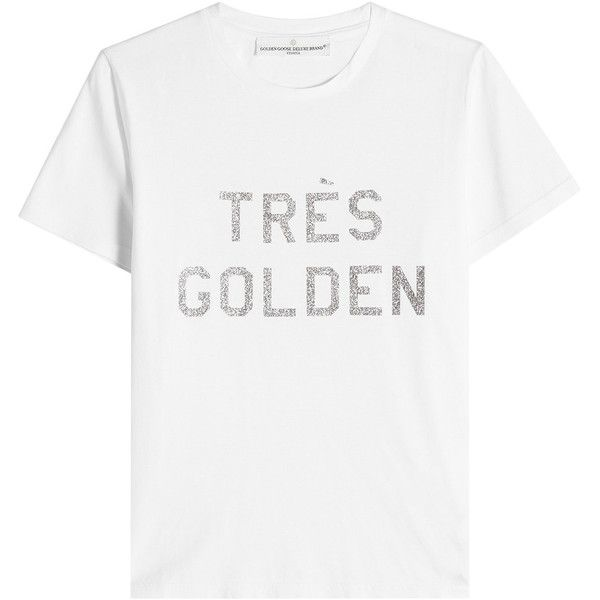 Golden Goose Deluxe Brand Printed Cotton T-Shirt (600 RON) ❤ liked on Polyvore featuring tops, t-shirts, shirts, blouses, majce, white, slogan shirts, white cotton t shirts, glitter top and cotton tees