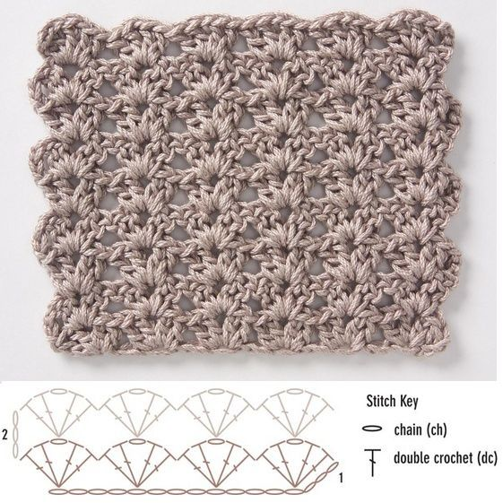 Crochet stitch diagram; shell pattern. This would be nice for a scarf.