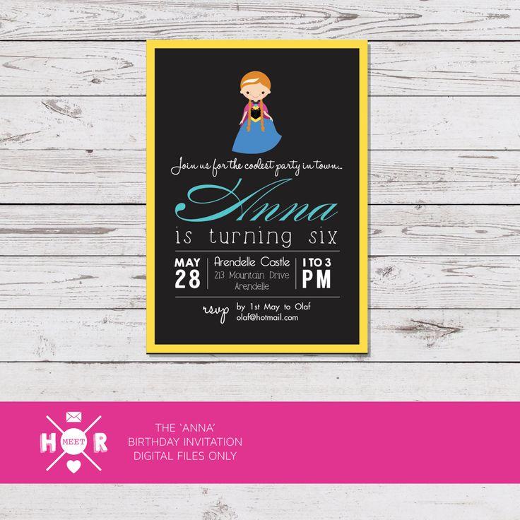 Printable - The 'Anna' Disney Frozen Princess Birthday Party Invitation by hudsonmeetrose on Etsy