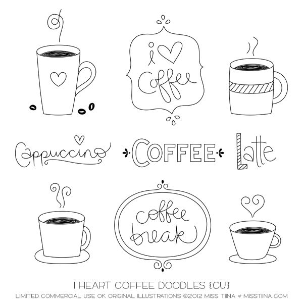Vector I Heart Coffee Doodles {CU}