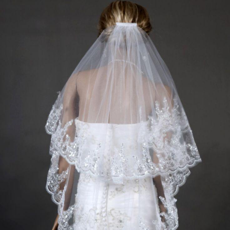 2016 المألوف يزين الزفاف الحجاب طبقتان الأبيض العاج تول مع مشط الحجاب الزفاف اكسسوارات الزفاف جديدة zfy1031