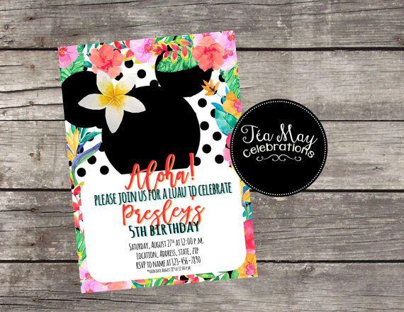 Hawaiian Minnie Mouse Personalized Birthday Luau Invitation