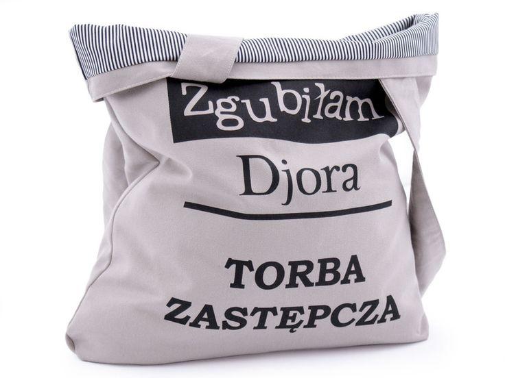 Torba bawełniana Zgubiłam diora podszewka, kieszeń w Bajaga Studio na DaWanda.com  #niezchinzpasji