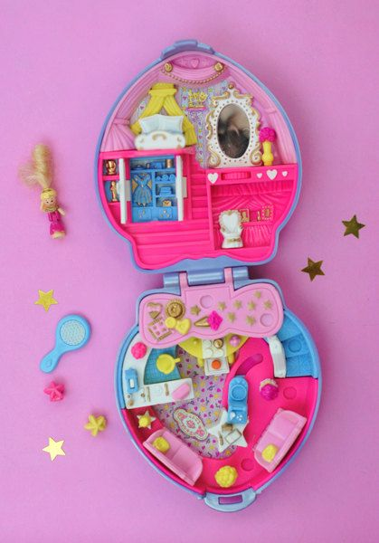 Complete, Vintage, Polly Pocket Super Star Hair Playset, Happenin' Hair Collection, Lilac Pearl Heart Shaped Compact - 1995