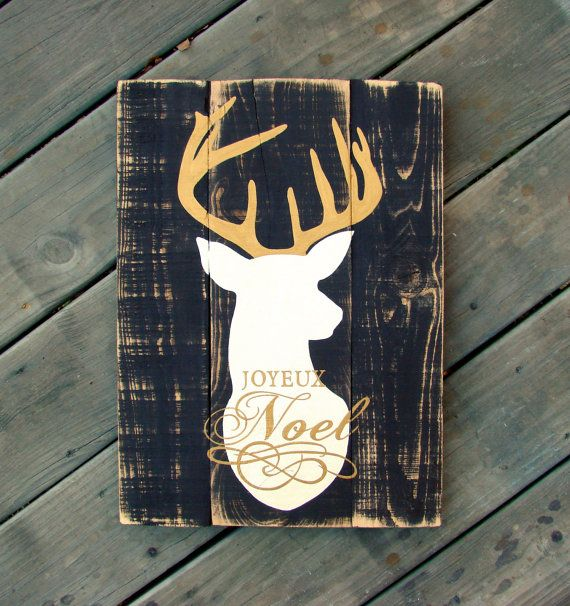 Hand painted wood sign Joyeux Noel with Deer Brown by LouandElle