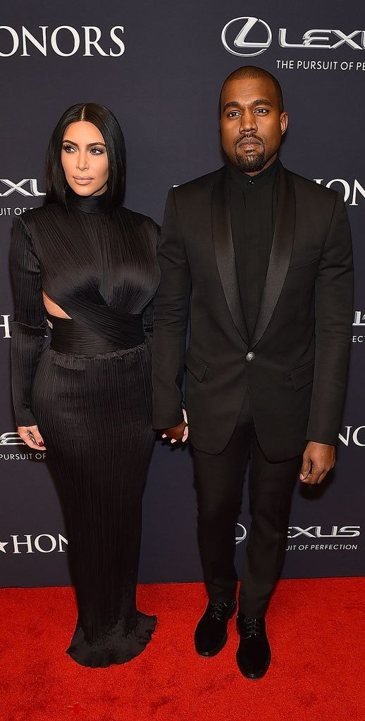 Kim Kardashian and Kanye West in Balmain at the BET Honors.
