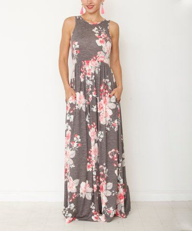 ad0ec335c118 Look at this #zulilyfind! Charcoal & Coral Floral Pocket Maxi Dress ...