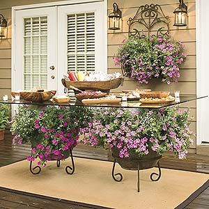 Gorgeous: Container Gardens, Tables Based, Outdoor Party, Tables Flower, Pot Plants, Outdoor Tables, Patio Tables, Dining Tables, Glasses Tables