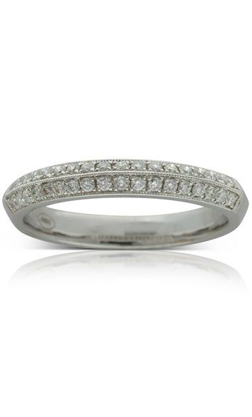 18ct white gold twin row .31ct diamond band