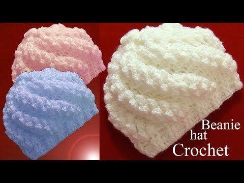 Gorro a Crochet en punto remolino popcorn en relieve tejido tallermanualperu - YouTube