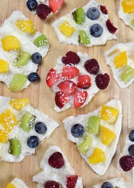 Rainbow fruity frozen yogurt bark recipe - fun and easy recipe for kids - perfect for healthy snacks and breakfast - Eats Amazing UK