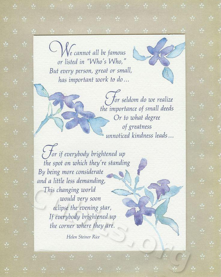 helen steiner rice inspirational poems .. Brighten Your Corner - by Helen Steiner Rice