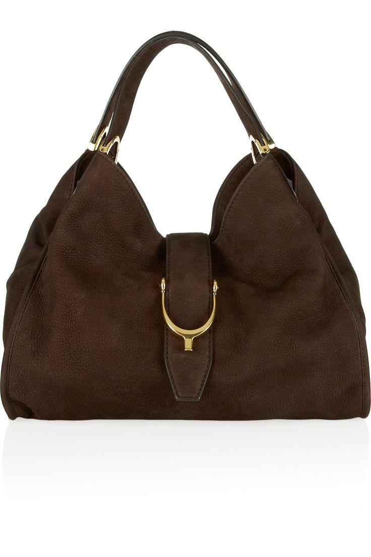 Brown Soft Stirrup nubuck suede shoulder bag | GUCCI