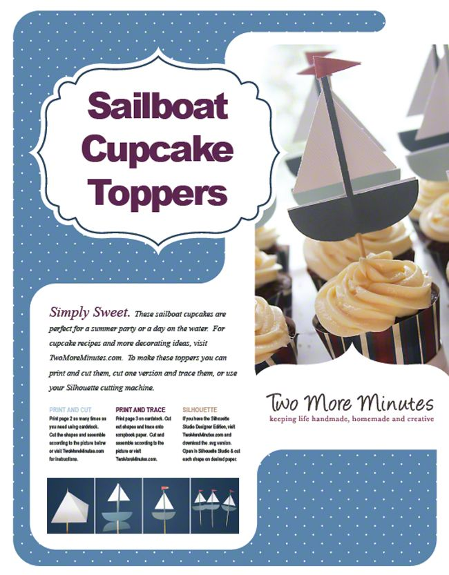 Sailboat Cupcake Toppers | Two More Minutes