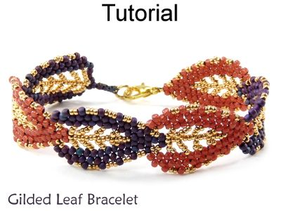 Gilded Leaf Bracelet Beaded Russian Leaves Beading Tutorial Pattern