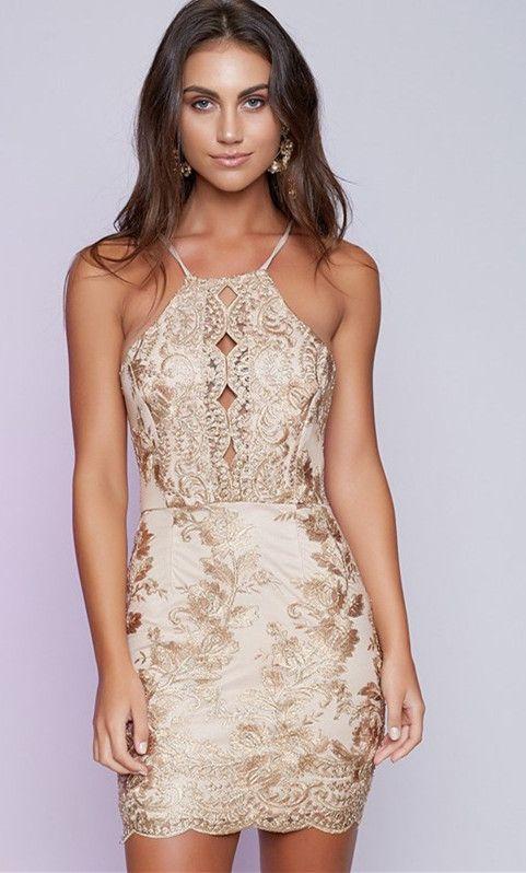 homecoming dress, 2017 homecoming dress, short gold homecoming dress, tight homecoming dress, short gold tight cocktail dress