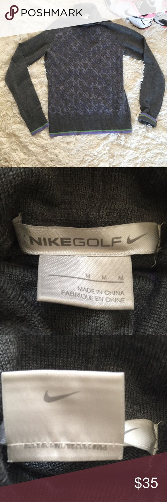 """Nike golf women's turtleneck sweater Medium Nike golf women's size medium turtleneck sweater. Great pre owned condition. Grey with purple geometric pattern. Measurements 17"""" pit to pit (stretchy) 24"""" length. Reasonable offers always accepted. Nike Sweaters Cowl & Turtlenecks"""