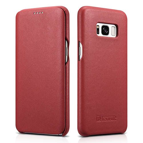 iCarer Samsung Galaxy S8 Curved Edge Luxury Genuine Leather Folio Case