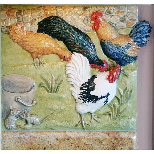 Transitional Tile from Gooseneck Designs, Model: Hens and Roosters