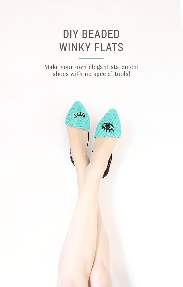 DIY Beaded Shoes - Winky Eye Pattern Flats - Turn this popular eye design into a quirky, fun fashion statement & learn how to make your own beaded shoes without any real beading skills using this step by step tutorial. They're perfect for a beginner and can be done in this pretty bright turquoise or any color you want with seed beads!