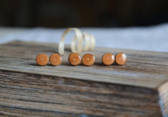 Natural wood earrings authentic wood stud post by MyPieceOfWood