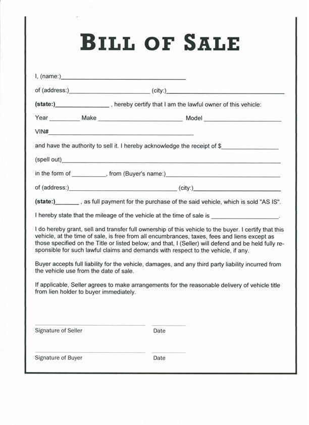standard vehicle bill of sale form
