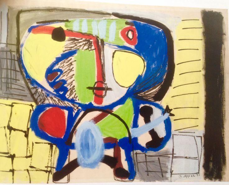 Gouache on papier Karel Appel 1951