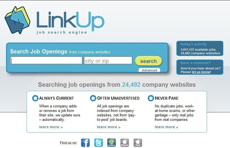 The Minneapolis-based job search engine, LinkUp, announced it reached 1 million job openings on its website. The company's search engine technology that indexes exclusively and directly from other company websites offers the most up to date information for job seekers.Website Include,  Internet Site, Company Website, Job Search, Web Site, Linkup Httpwwwlinkupcom, Job Seeker, Search Engineering, Include Job