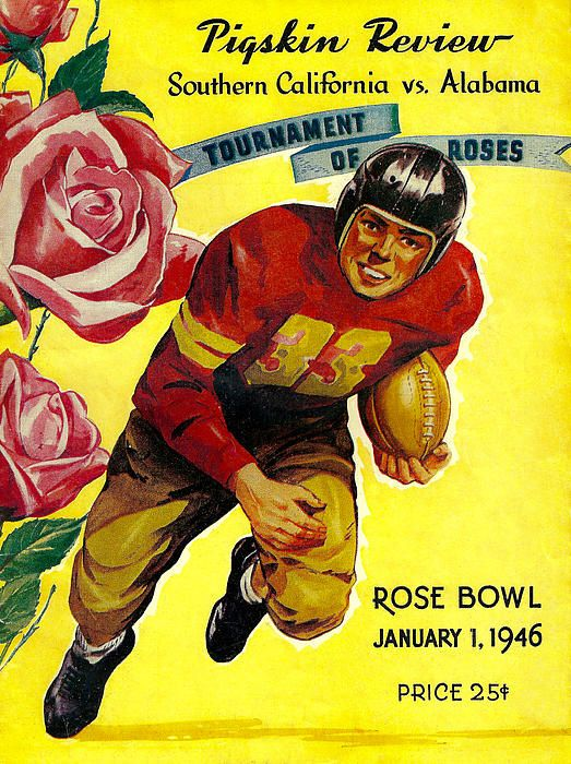 1946 Rose Bowl Program The Alabama Crimson Tide defeated the underdog USC Trojans 34-14. It was Alabama's sixth and final trip to the Rose Bowl and Coach Thomas' final bowl trip as a coach. #Alabama #RollTide #BuiltByBama