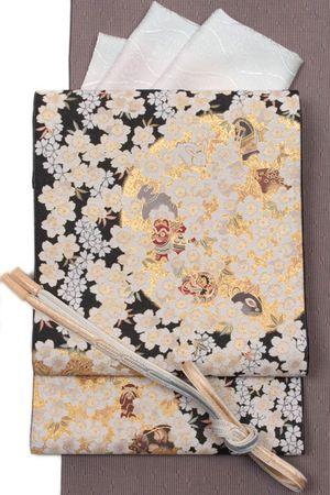 【となみ織物】謹製西陣織特選袋帯となみ帯紹巴織(しょうは織り)桜・干支のかくれんぼ/黒地桜の季節留袖・訪問着用