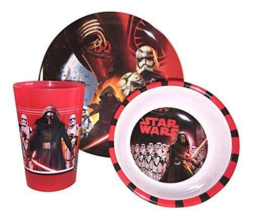 """Set contains plate (8""""), bowl (5.5""""), and tumbler (9oz) – All materials are durable and long-lasting. Plastic material that will not break.  - http://kitchen-dining.bestselleroutlet.net/product-review-for-star-wars-3-piece-mealtime-set-includes-plastic-plate-bowl-and-cup-featuring-sw7-kylo-ren-stormtroopers/"""