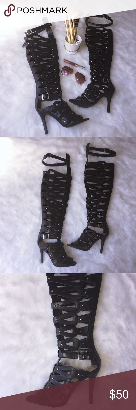 Black thigh high sandals w/ silver details&zipper Brand new black faux leather thigh high sandals with silver detailing and zipper. Size 6 {true to size} comes with pink duster bags. If you have any questions feel free to ask! No trades. Shoes Heels