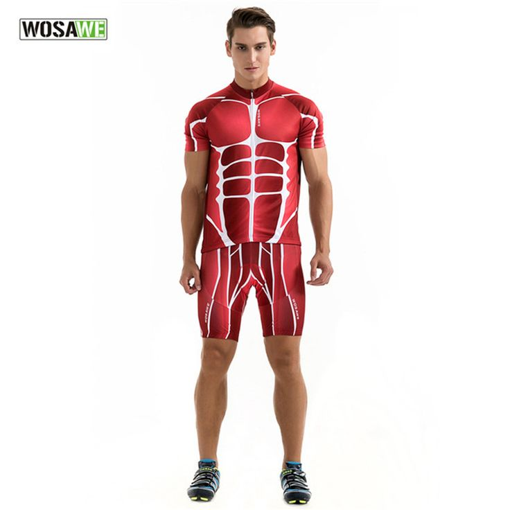 2017 New Arrival WOSAWE Short Sleeve Cycling Jerseys Red Muscle Bicycle Suit Unisex Top 3D Silicone Gel Padded Cycling Suits