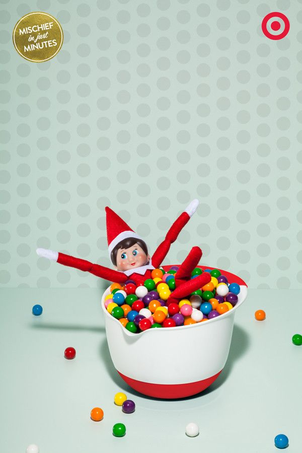 Gumball Ball Pit You see a bag of gumballs and a mixing bowl – Elves see a gumball ball pit ready to go! So go ahead and dive into colorful, candy-full Christmas fun.