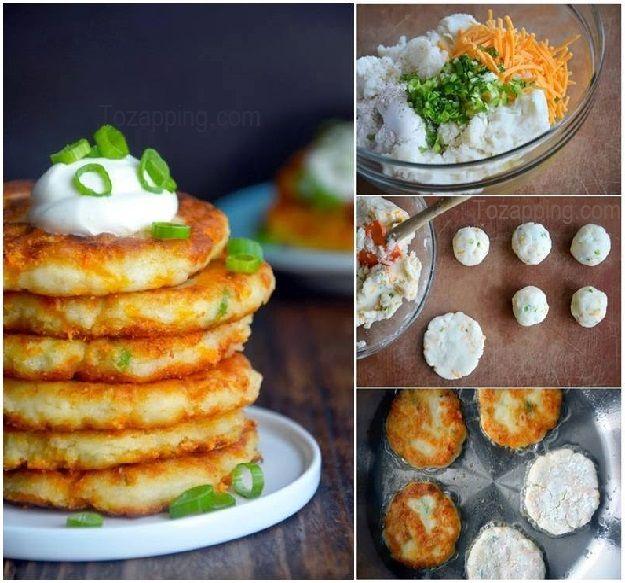 Tortitas de restos de puré de patatas con queso,la harina q se usa se puede sustituir x la de arroz o cualquier otra