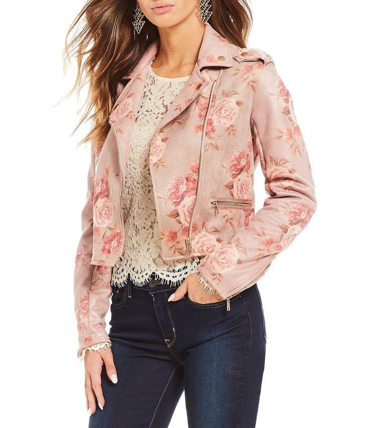 Coco Jaimeson Floral Printed FauxSuede Moto Jacket #Dillards