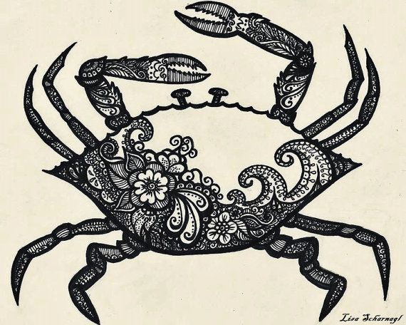 Henna Inspired Crab Print by Schargiggles at www.etsy.com/shop/schargiggles