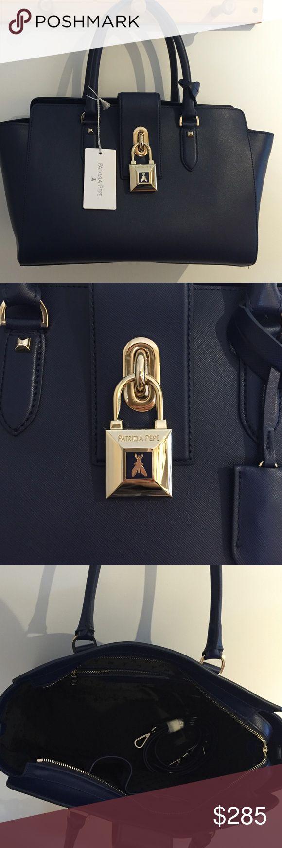 Patrizia Pepe Blue Leather Women's Large Handbag Patrizia Pepe Dress Blue Leather Women's Large Handbag 2V4912/AT78. Patrizia Pepe Bags Shoulder Bags