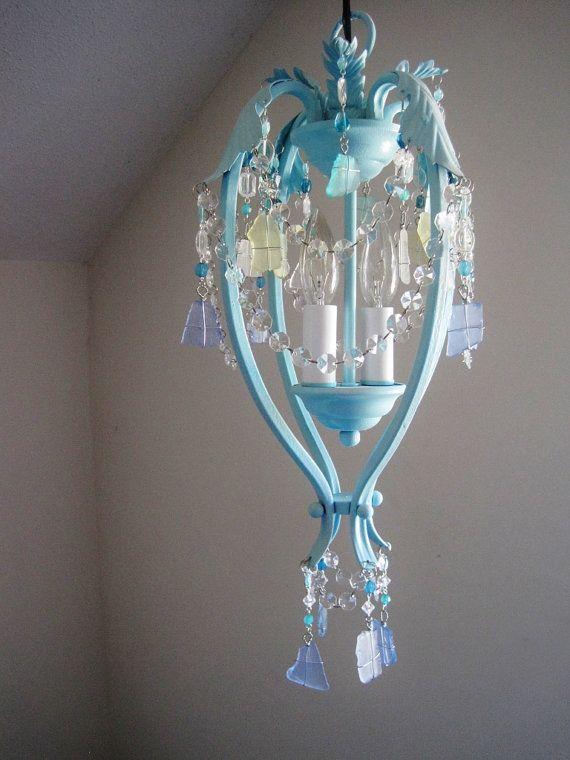 Boho Breeze Sea Glass Chandelier Pendant by ShabulousChandeliers