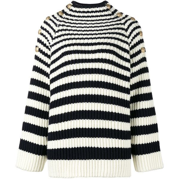 Alberta Ferretti long sleeve striped jumper (£980) ❤ liked on Polyvore featuring tops, sweaters, blue, striped top, striped jumper, white sweater, white long sleeve sweater and blue striped top