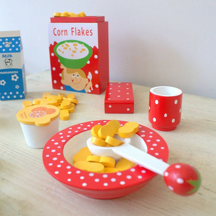 Wooden Toy Breakfast Set Which Includes Cornflake Pieces In A Box Milk Carton