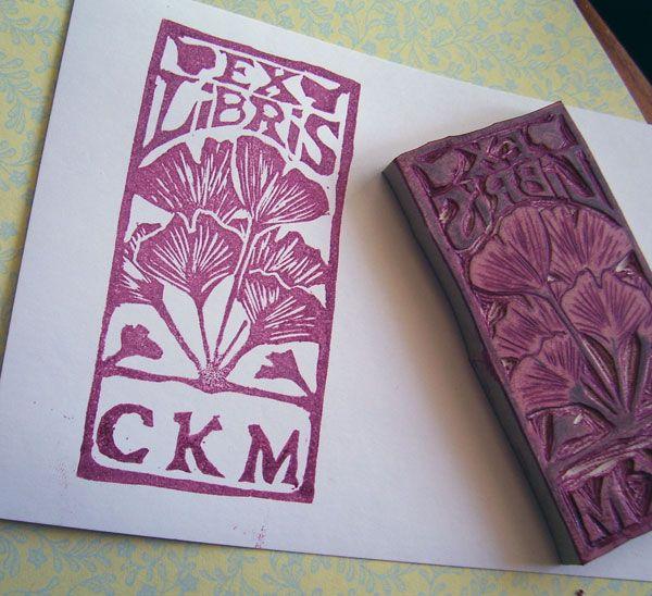 Ginkgo ex libris stamp carving ideas linocut