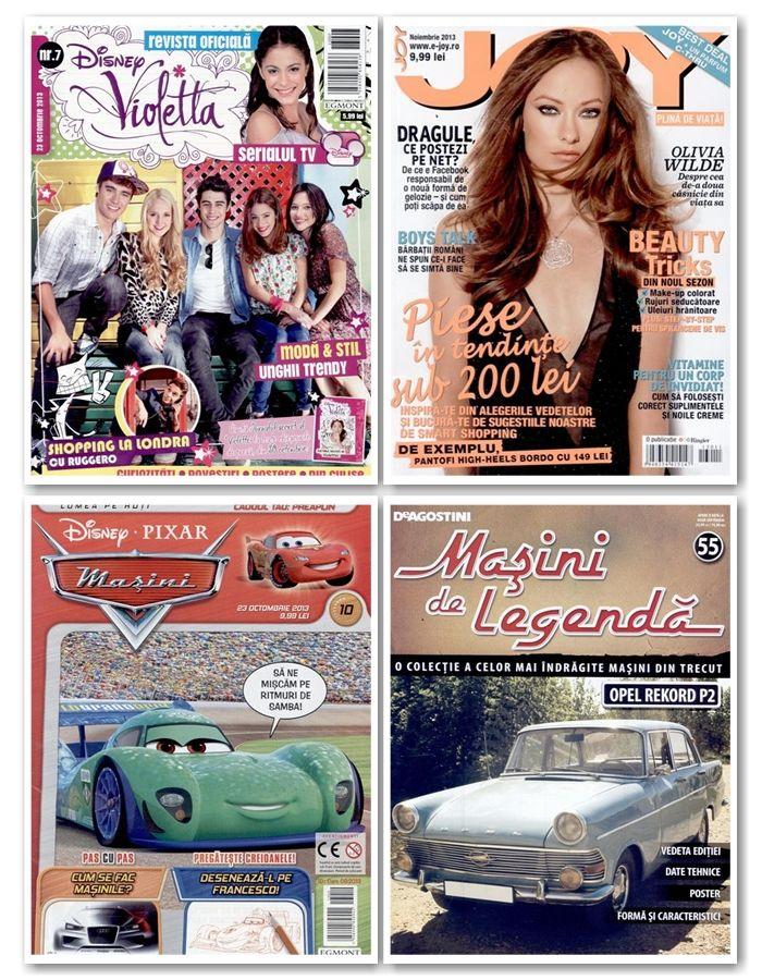Noua editie a revistei Joy apare maine. Aceasta poate fi cumparata impreuna cu un super insert: un parfum C-Thru de 30 ml!  Tot incepand de maine puteti gasi in magazinele noastre: – colectiile Masini de Legenda, Usor de Crosetat si Bismarck – revista de de adolescenti Violetta – revistele pentru copii Cars, Winnie sau Ben 10  Lista completa o puteti consulta aici:http://inmedio.ro/blog/reviste-noi-23-octombrie/