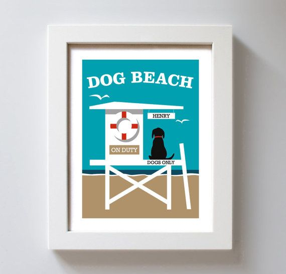 Dog Beach Art Personalized Dog Art Beach Decor Labrador by DexMex