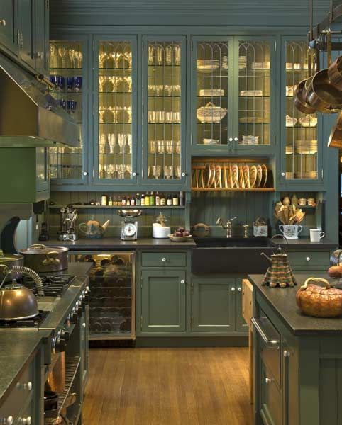 Leaded glass found in the barn was incorporated into a new in-kitchen pantry in a large Victorian house. Photo: Edward Addeo.
