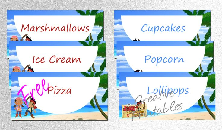 Free Printable Jake And The Neverland Pirates Food Labels