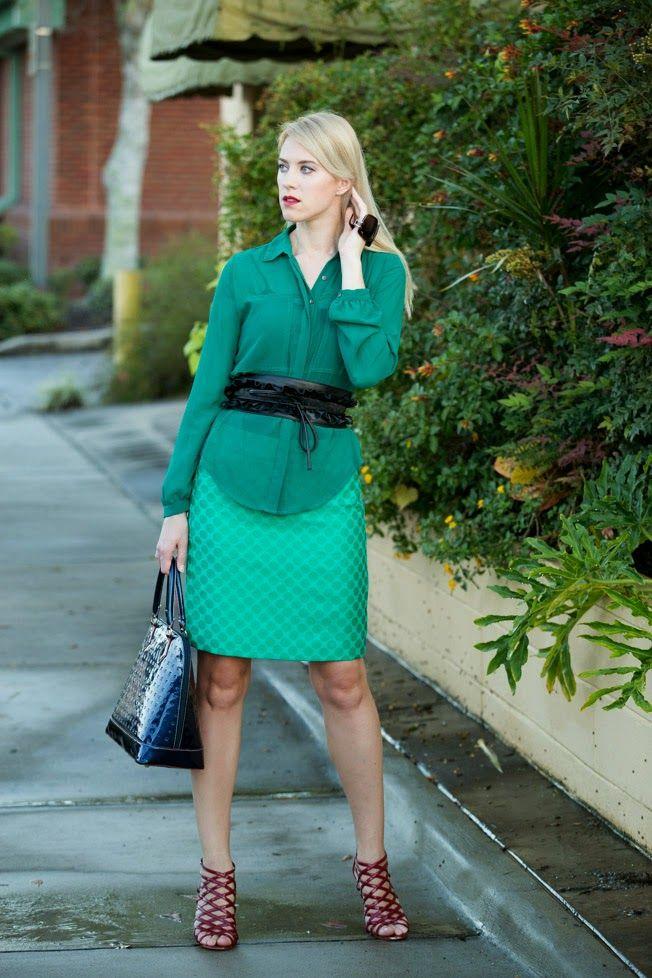 monochromatic green outfit, banana republic skirt, blue leather Arcadia purse, H&M wide belt, chiffon green blouse http://www.kslookbook.com/2014/10/going-green.html