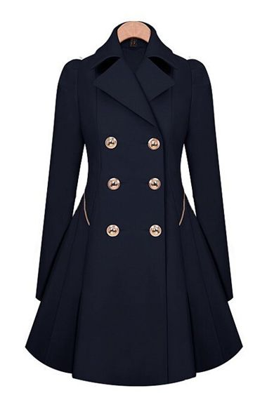 Dark Blue Double-Breasted Long Sleeves Trench Coat Outerwear
