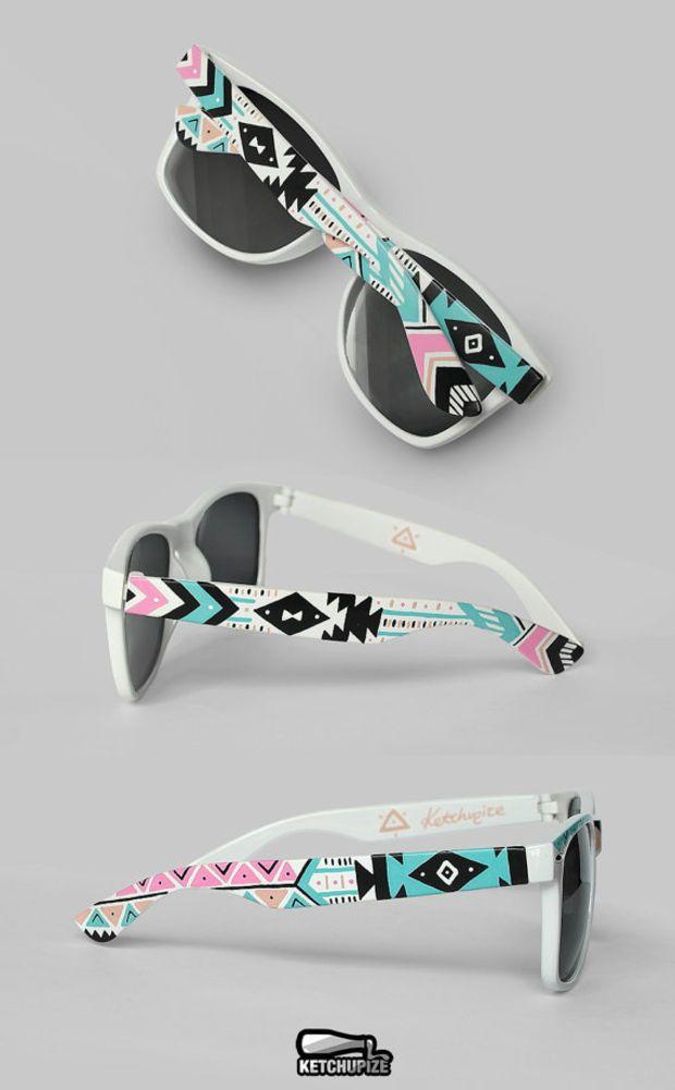 Sunglasses - Aztec print Tribal trend fashion sunglasses unique hand painted - pastel pink teal natural black