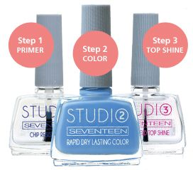 Studio – 3 Step Manicure System | Seventeen Cosmetics Αdvanced STUDIO SEVENTEEN mani system.  Perfect result that lasts up to twice as long, extra shine and a noticeable reduction in waiting-time for deep drying. #Seventeen #Cosmetics #nails #nailpolish
